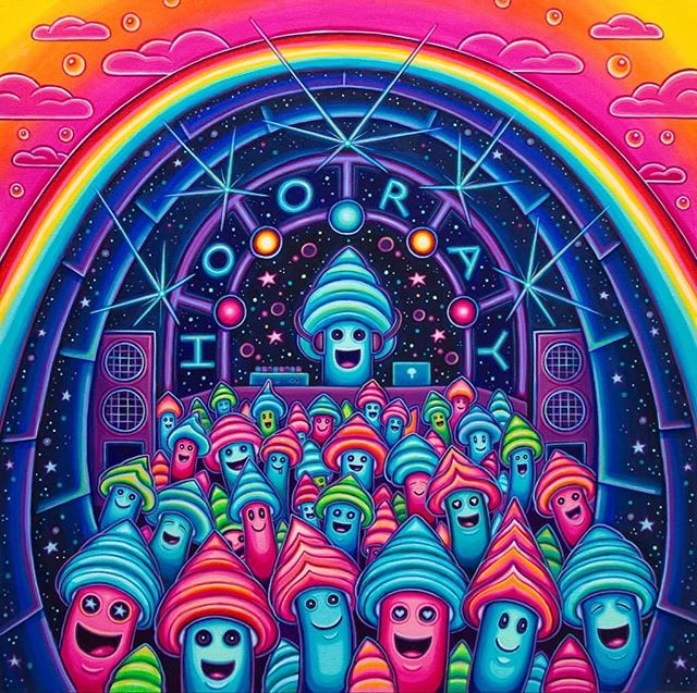 "#tbt 'DJ Mooshay and The Hooray Rave', Acrylic on Canvas, 24""x24""... created this past winter // ✌️🤩🍄 // got some prints available at the link in my profile :)"