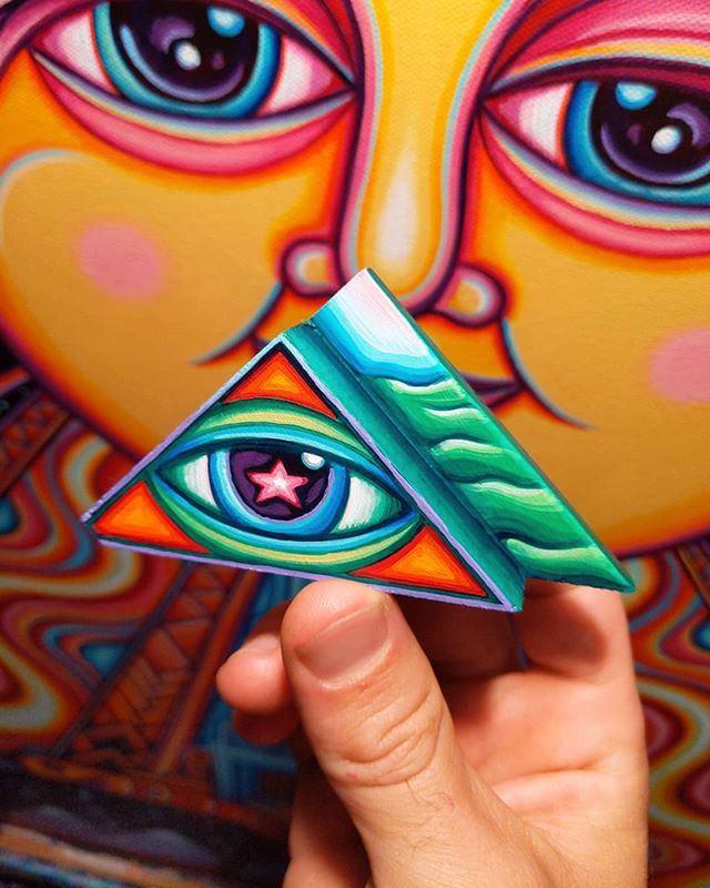 'Vibey Eye', Scrap Wood Painting // ✌️👁️✨ // this is sold, but keep an eye out for another scrap wood mini later this week :)