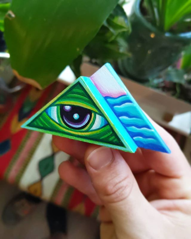 Green, and blue, and purp scrap wood mini // ☝️👁️✨ // available at the link in my profile!!