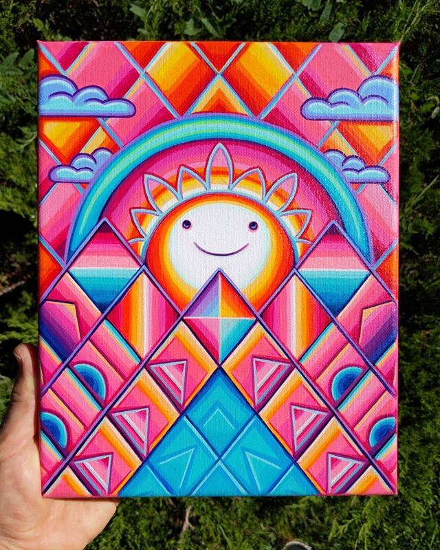 "✨AUCTION TIME✨ 'Happy Little Sunset', Acrylic on Canvas, 8""x10"" // ✌️🌞❤️ // Let's start the bidding at $25. Reply to my 'BID HERE'  comment below with your bid ($5 increments, please) and the highest bid at noon (MDT) tomorrow wins!! // Free shipping within the US, international must pay shipping fee! I'll arbitrarily add more fun freebies to the package as the bid gets higher ;) . . . .  #psychedelicart #psytrip #psyart #artauction #sunset #psychedelic #trippyart #trippyartist #powerup #psychedelictrip #psychedelicartist #dmtart #psychedelicartwork #psyartworld  #psytranceart #psychonaut #trippynation #visionaryart #visionaryartist #spiritualartist #cosmicart #mushroomart #symmetry #mushlove #shroomart #magicmushroom #geometricart #painting #johnspeakerart #boulderco"