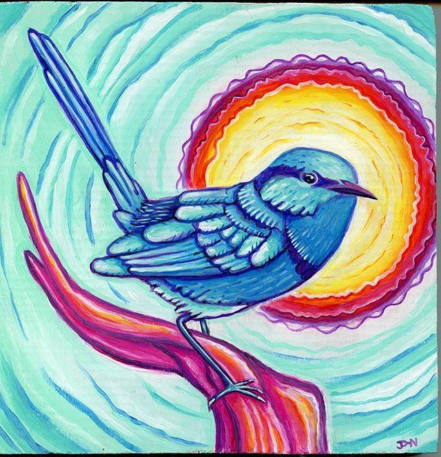 #tbt 'Wren' (2016), Acrylic on Wood, created for my niece Lilah Wren // ✌️😊❤️ // #wren #painting #acrylicpainting #mandala #halo #bird #wildlife #art #visionaryart #thankyou