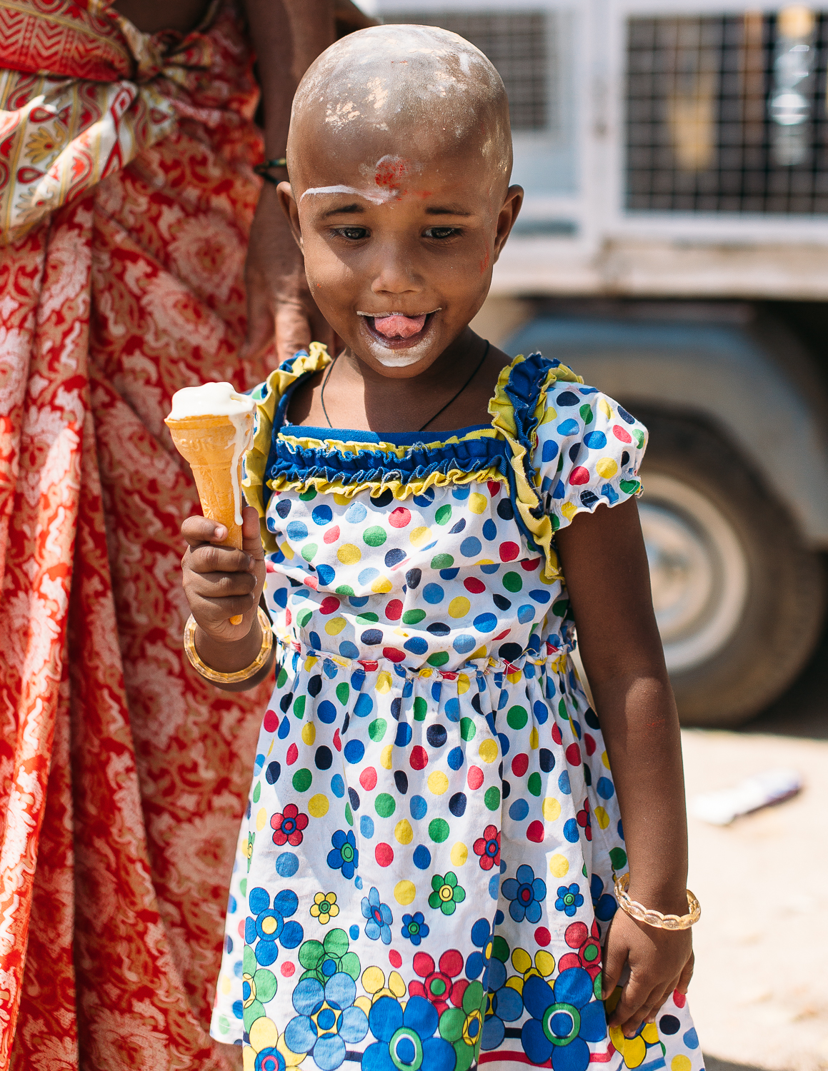 A young girl visits the food festival in Vettuvanam, India on March 11, 2016.