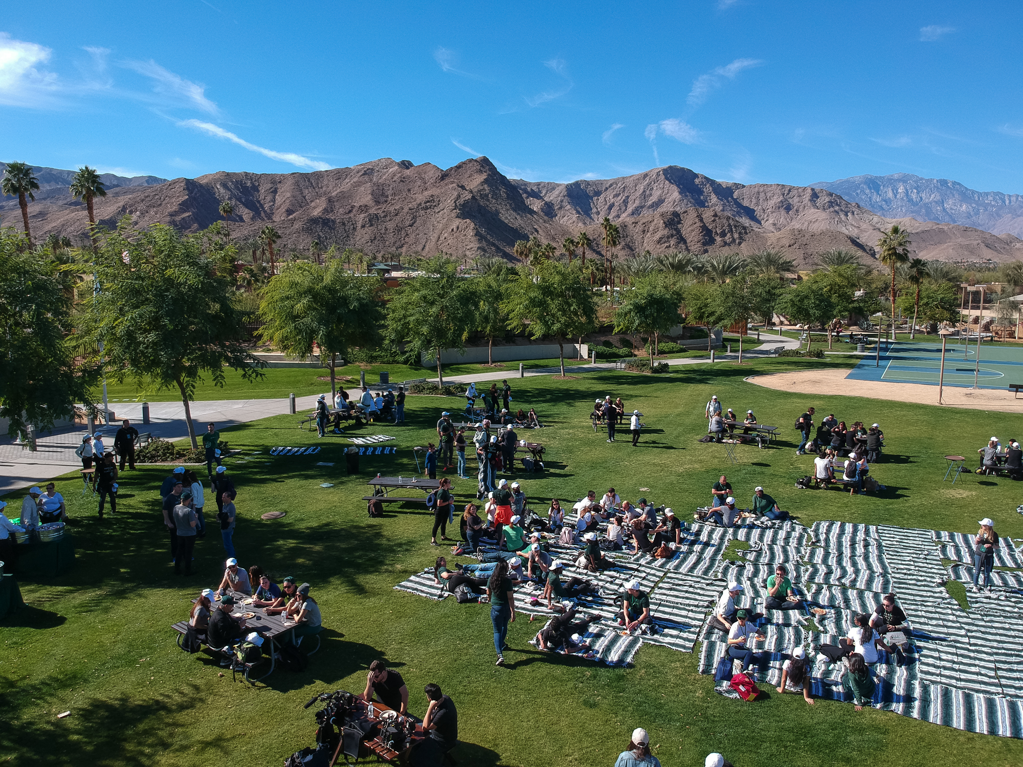 Sweetgreen employees eat lunch during a company retreat in Palm Springs, California on January 24, 2018.