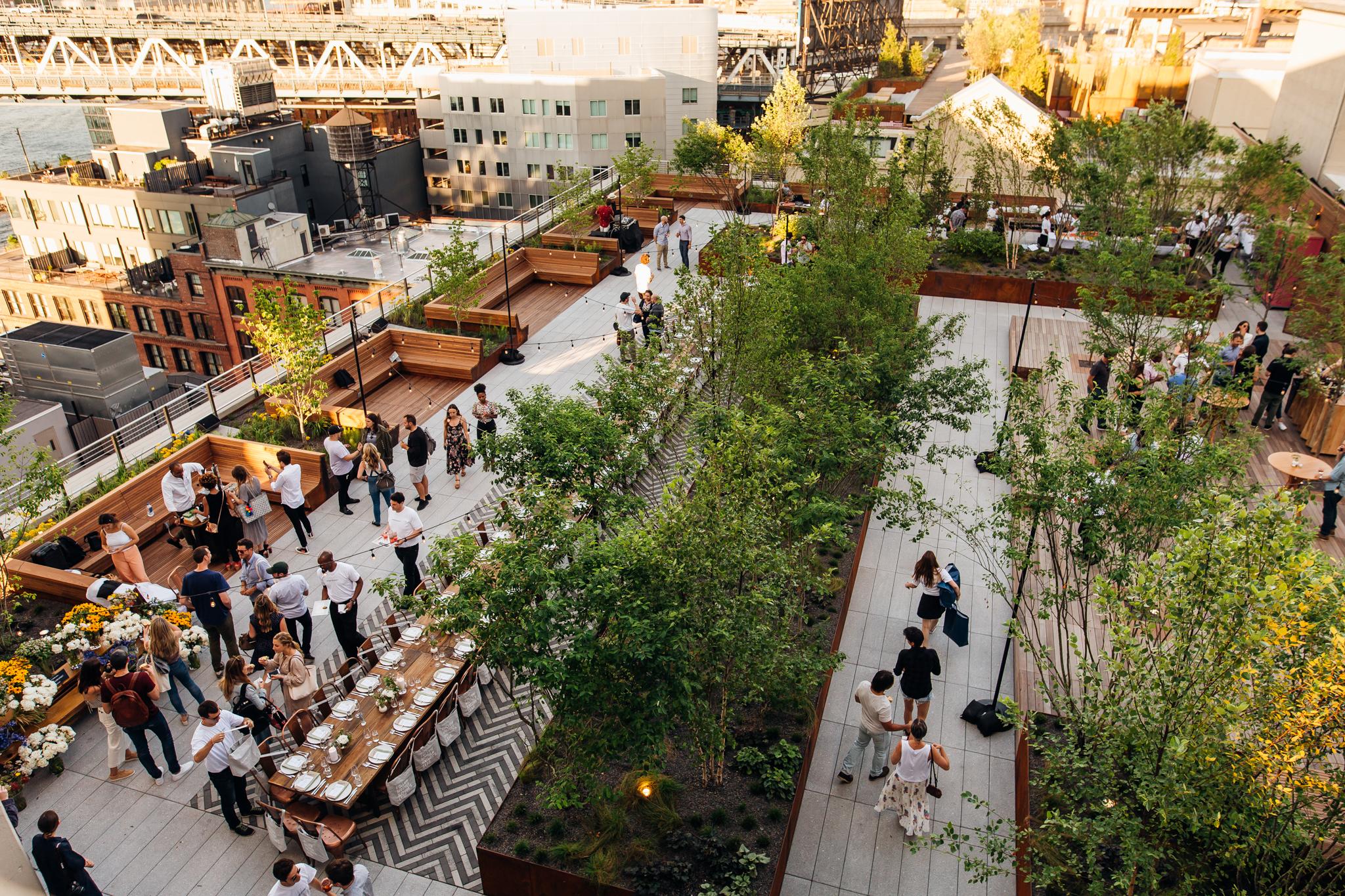 Guests come to a sweetgreen launch party in Brooklyn, New York on June 20, 2017.