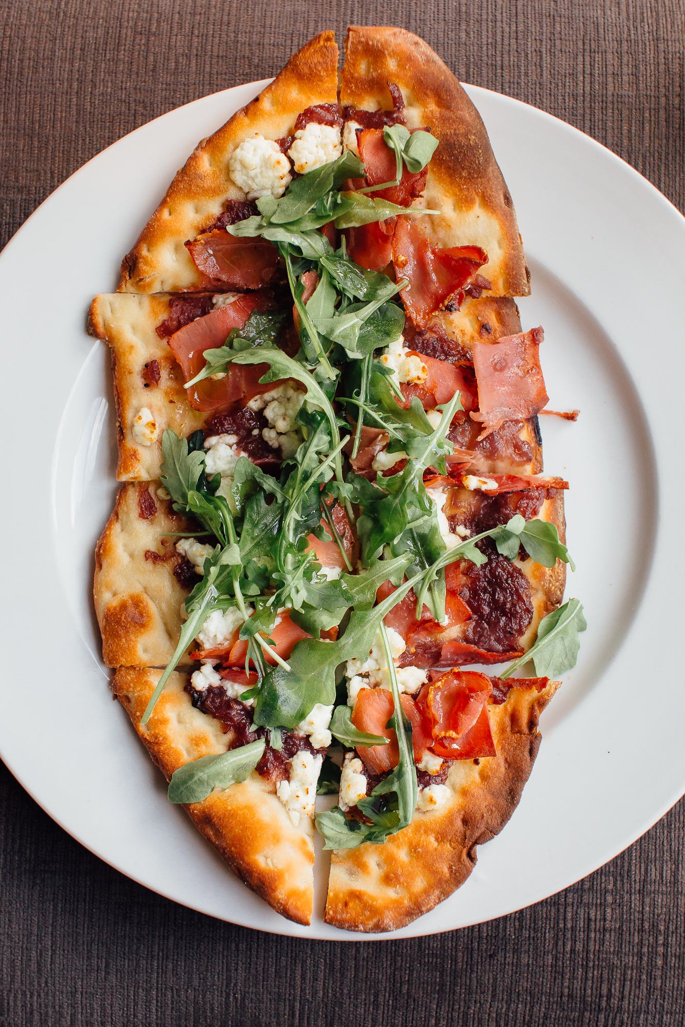 Fig and Arugula flatbread at Metropolitan Kitchen and Lounge in Annapolis, Maryland on May 26, 2016.