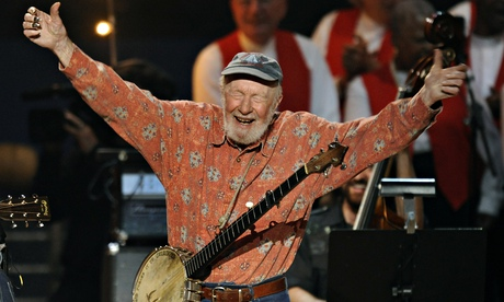 Pete Seeger at his 90th birthday concert in Madison Square Garden. Photograph: AFP/Getty Images