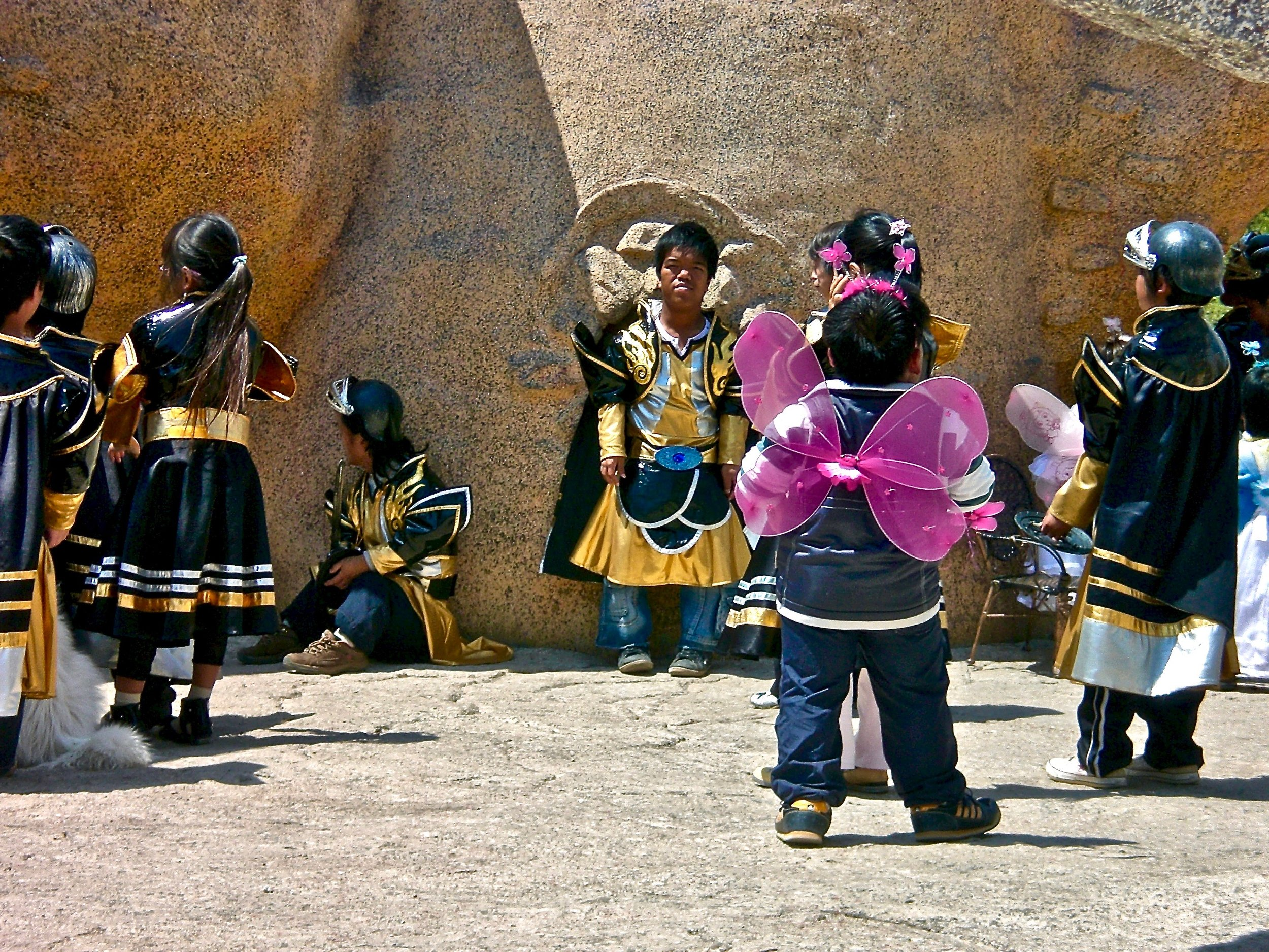 Performers backstage at the Kingdom of the Dwarfs amusement park in Yunnan, China. (C) Remko Tanis