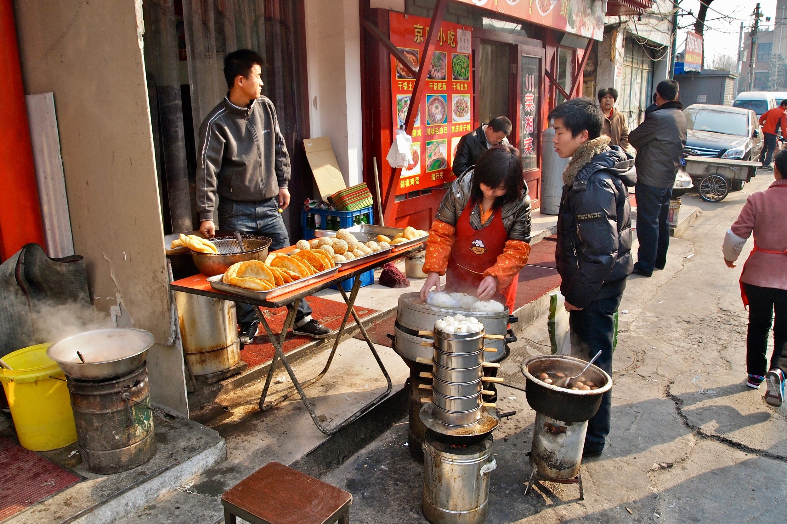 Food stand in an alley behind Tiananmen Square, Beijing, China. (C) Remko Tanis
