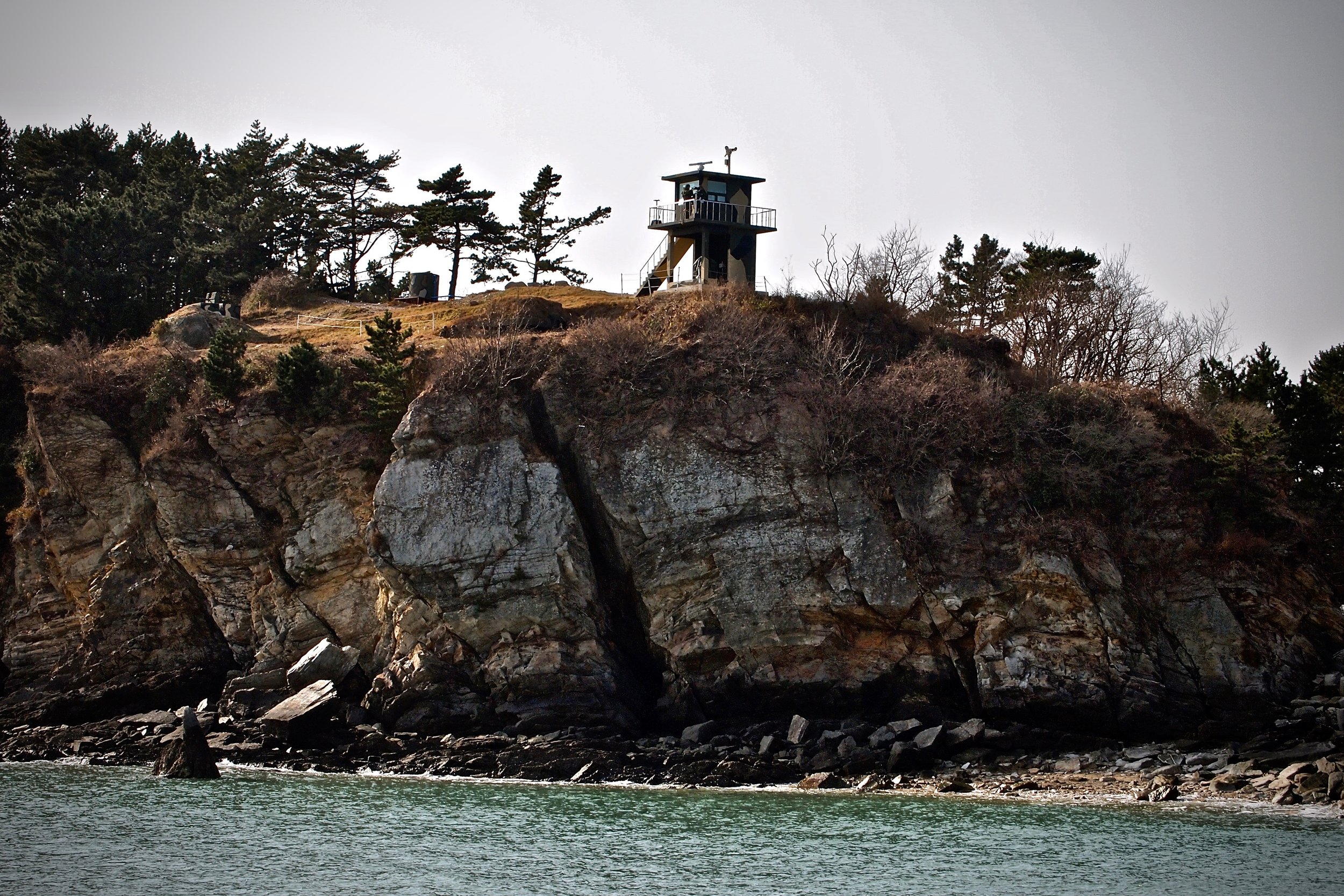 Military guard tower on South Korea controlled Yeonpyeong Island, close to the mainland of North Korea. (C) Remko Tanis