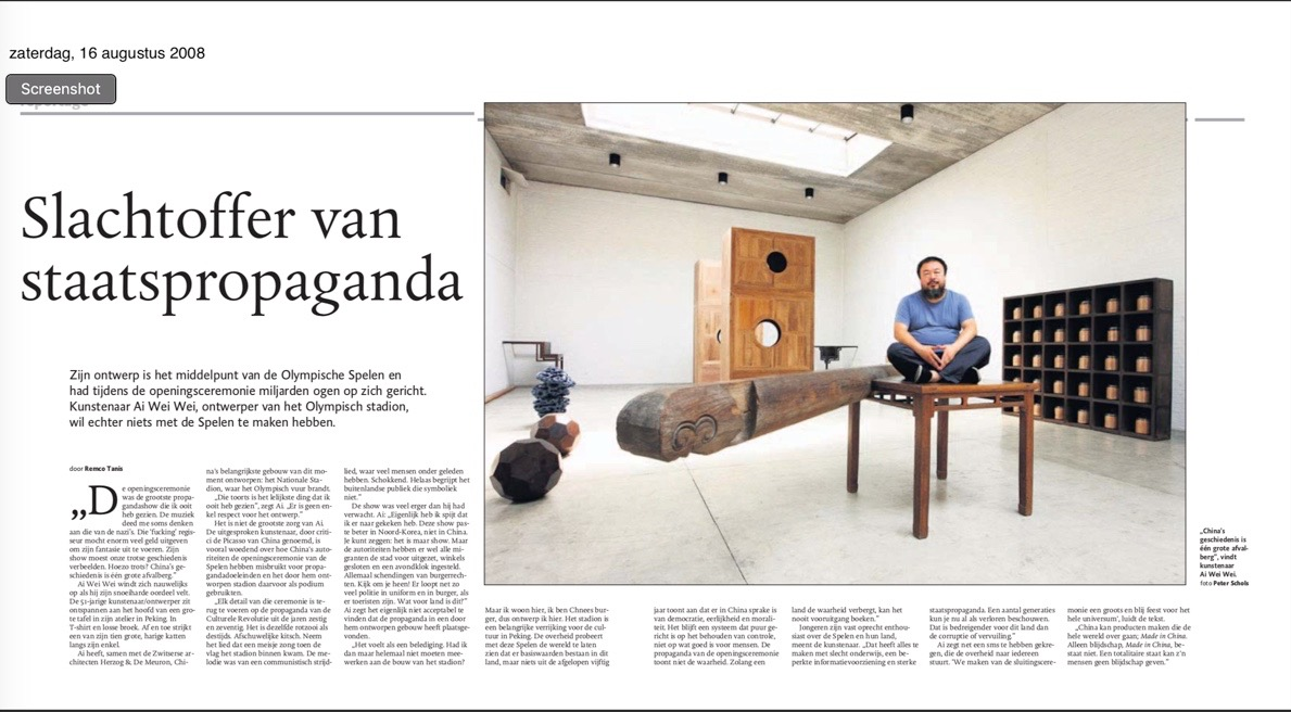 The interview as published originally in 2008 in newspapers in the Netherlands. Photo by Peter Schols.
