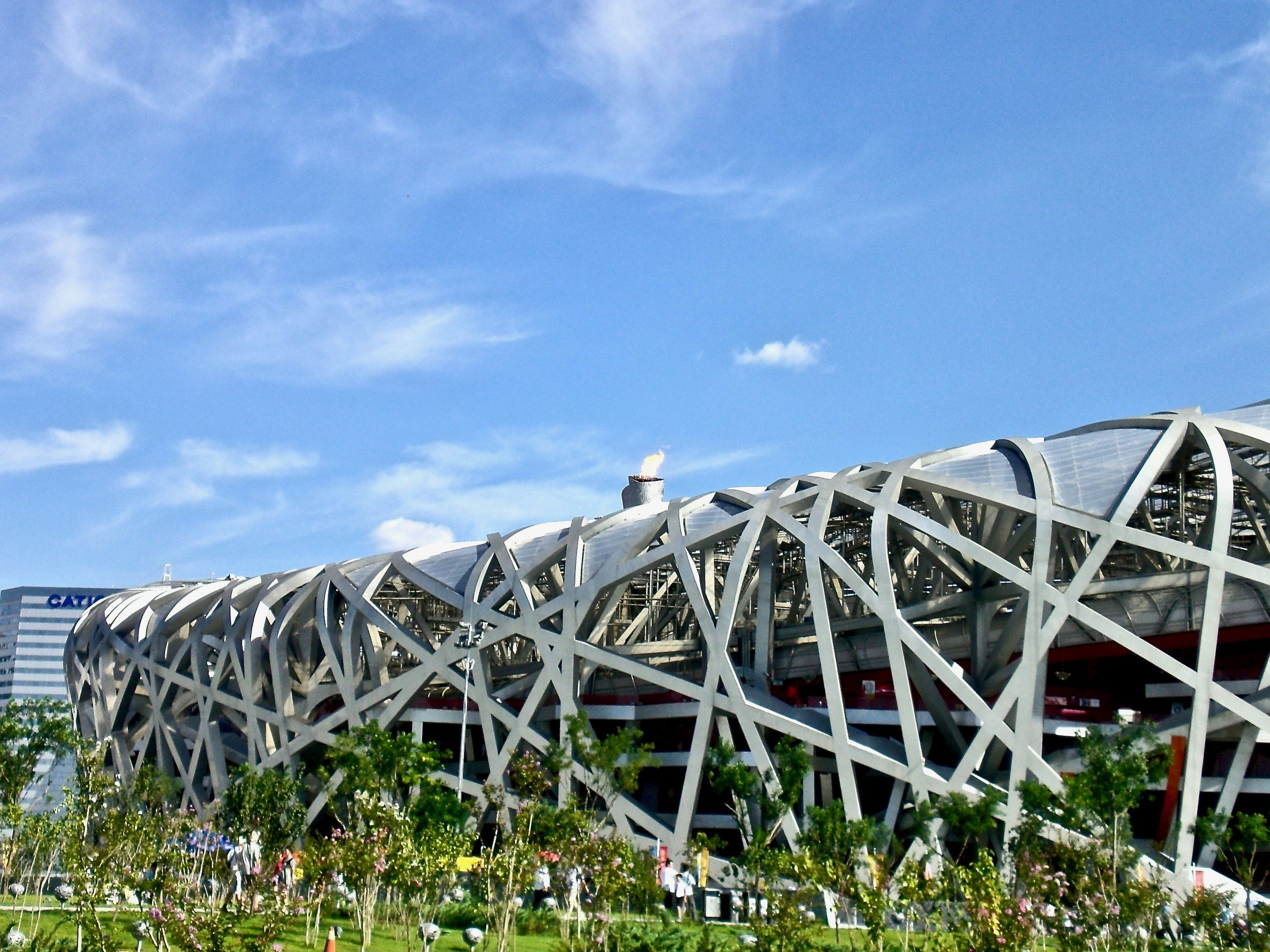 The National Stadium, designed by Ai Wei Wei, during the 2008 Olympic Games in Beijing, China. (C) Remko Tanis