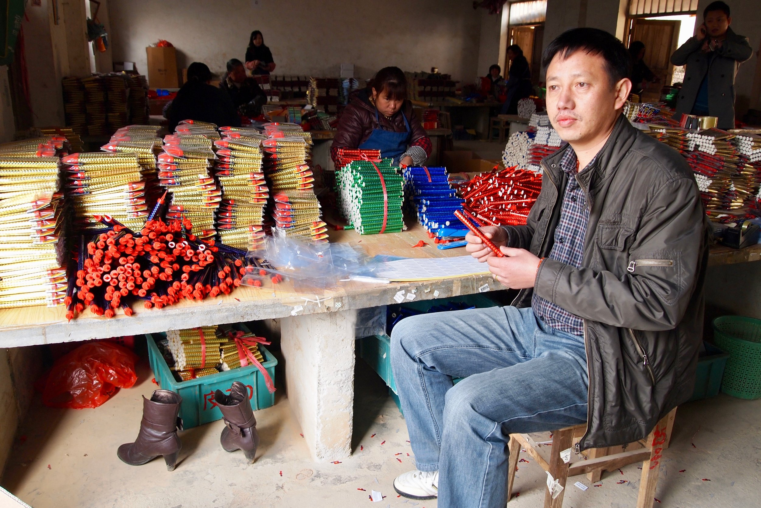 Bo Yuefei in his fireworks factory in Liuyang, China. Photo: (C) Remko Tanis