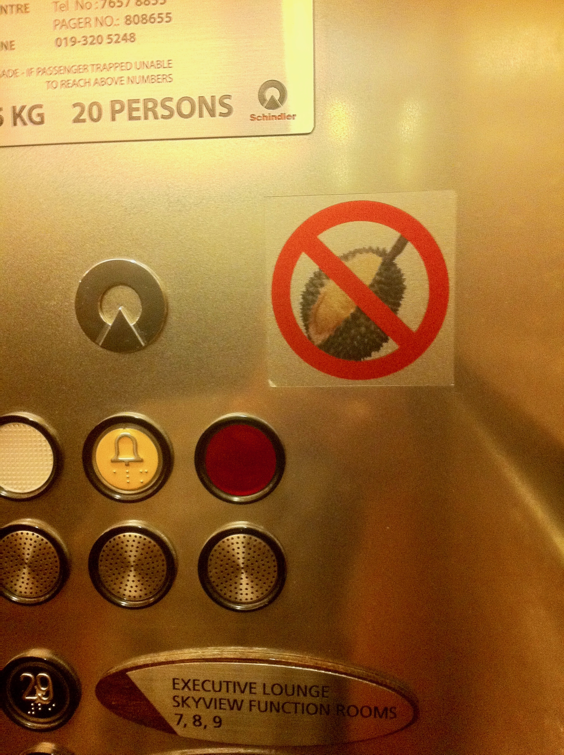No smelly durians allowed in the elevator of a hotel in Kuala Lumpur, Malaysia. Photo: (C) Remko Tanis