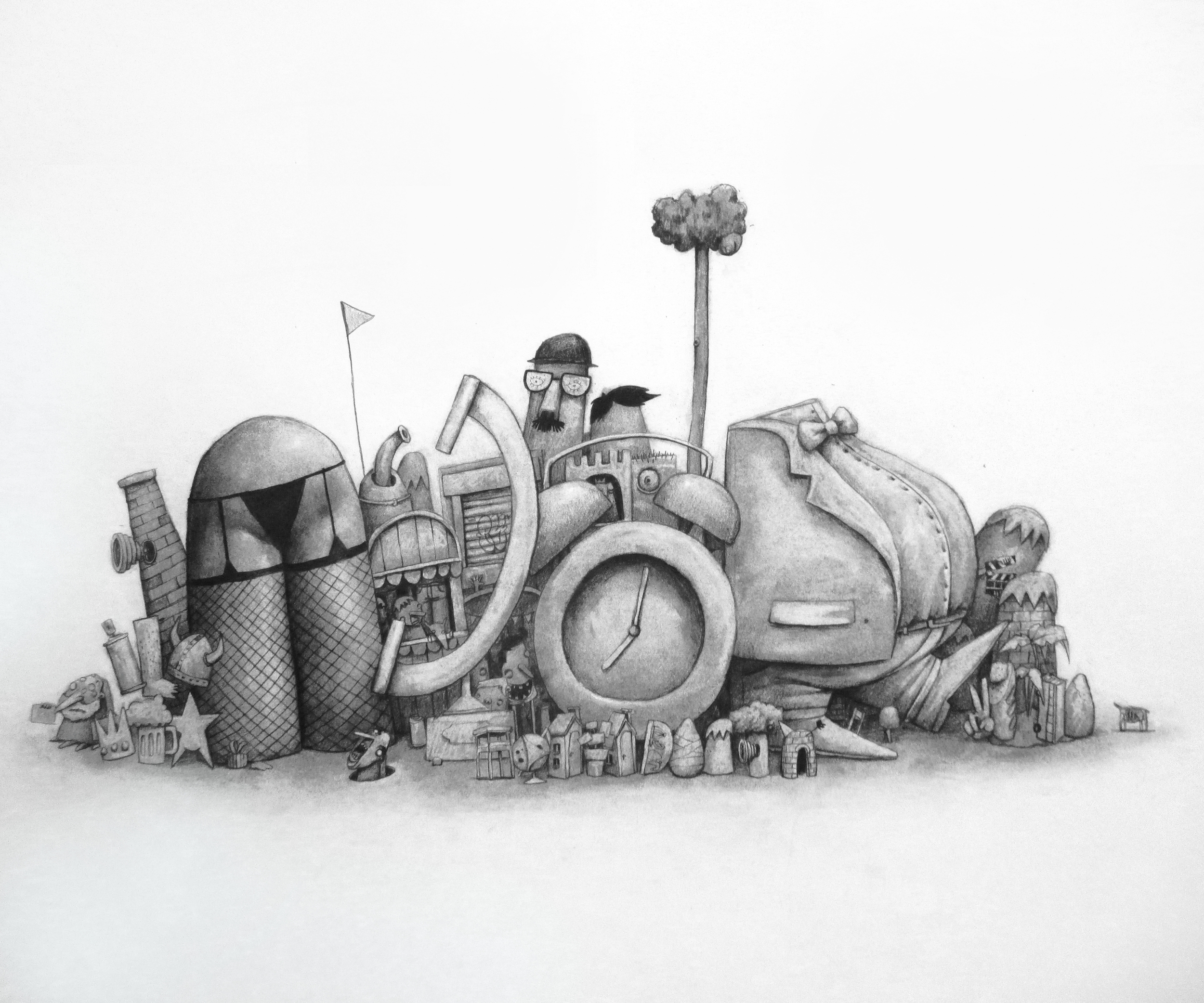 """Called junkyard"", graphite on paper, 20"" x 24"""