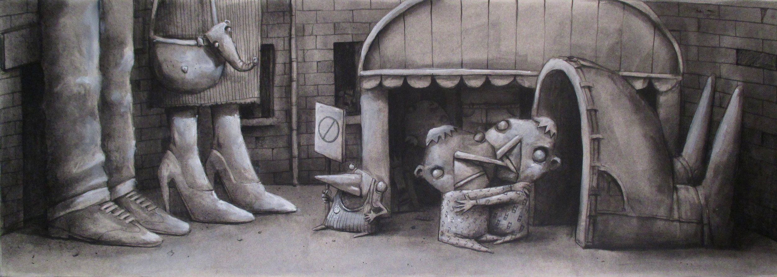 "'Adam & co', graphite on paper paper, 10"" x 27"""