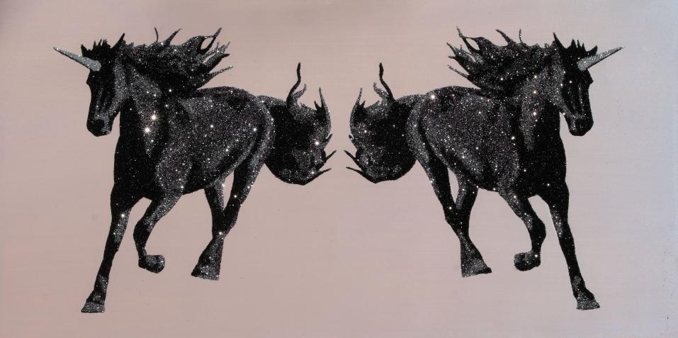 """Sliver and Purple Unicorns "", glitter on canvas, 24x36"