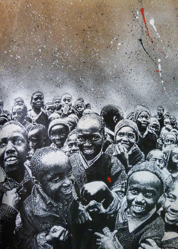 """Black Crowd"" - 39"" x 32"" - stencil on paper"