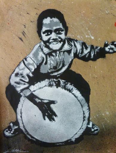 """""""Djembe Kid"""" - 39"""" x 32"""" - stencil on paper"""