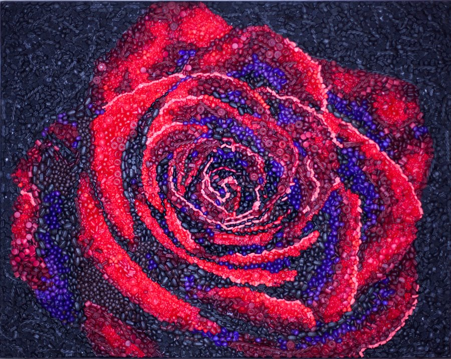 """""""A Rose By Any Other Name"""" 51"""" long x 41"""" tall x 1.5"""" deep 15,000+ individually hand cast urethane pieces of candy"""