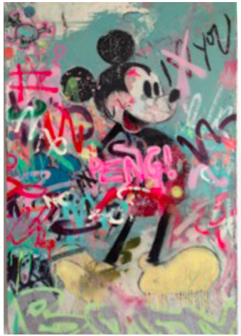 "MICKEY WITH TAGS - mixed media on canvas - 24"" x 34"""