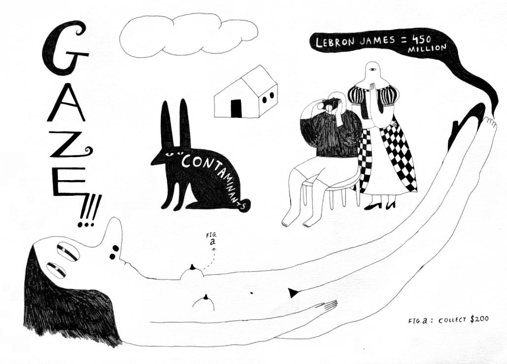 """Gaze !!!  - 13"""" x 17.5"""" Pen and Ink on cotton rag paper -framed"""