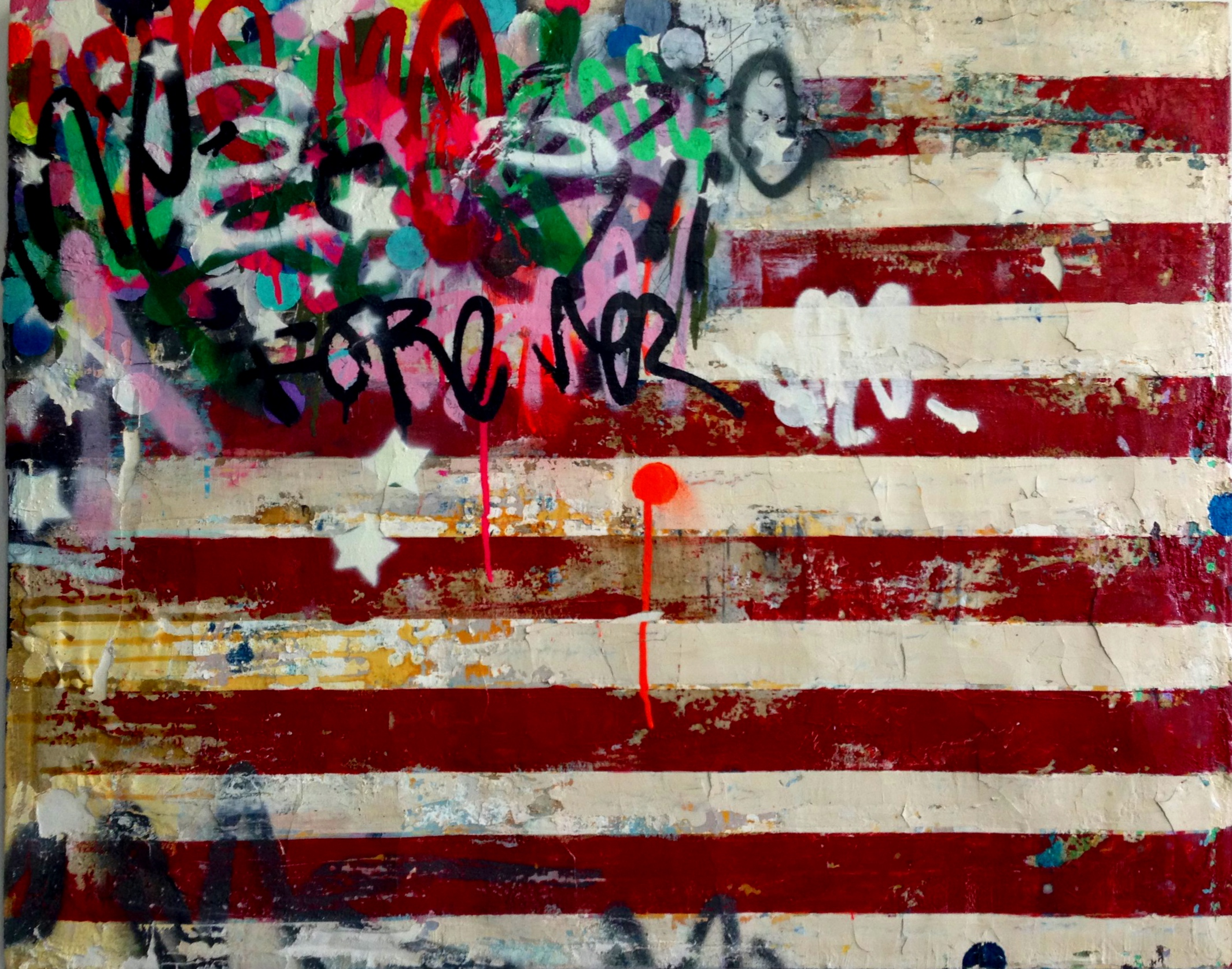 "FLAG  -  Mixed media on canvas - 30"" x 38"""