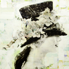 Victoria Pullen  photo collage, encaustic and mixed media - 24 x 24 x 2""