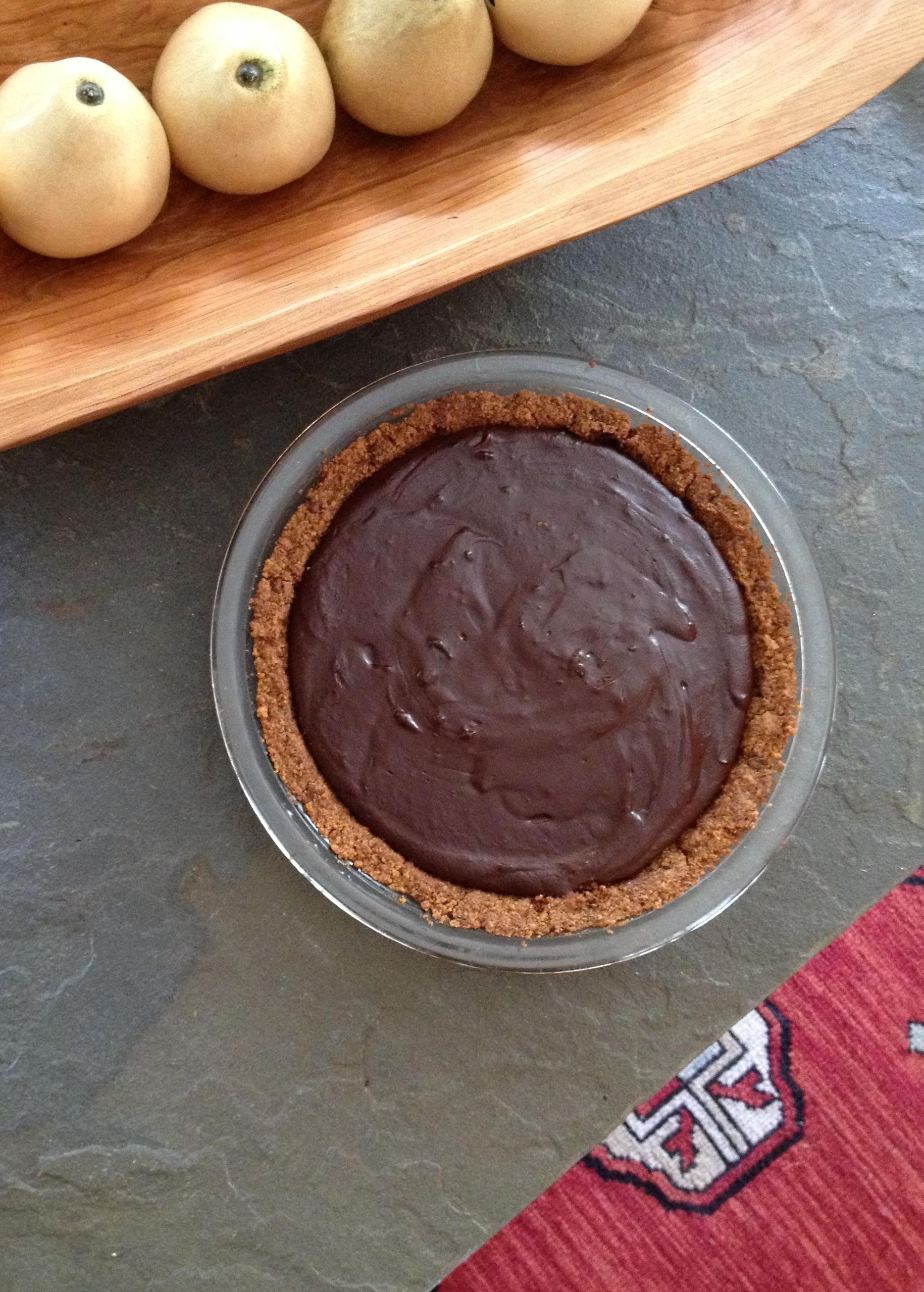 chocolate creme pie with choco coffee graham cracker crust