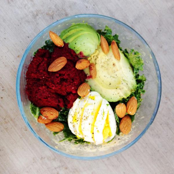kale cobb salad with beet hummus + creamy tahini dressing