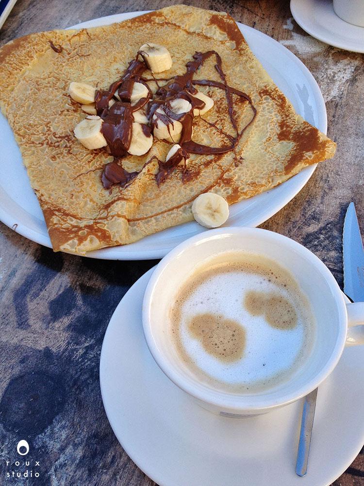 banana nutella crêpe+ grand crème  gap, france | october 2013