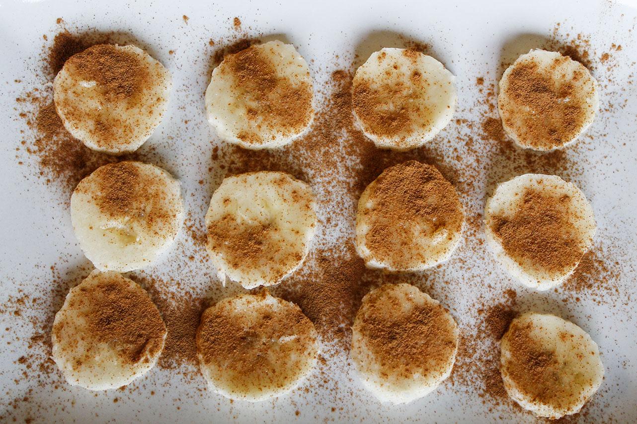 cinnamon bananas for the pumpkin spice parfait | roux studio