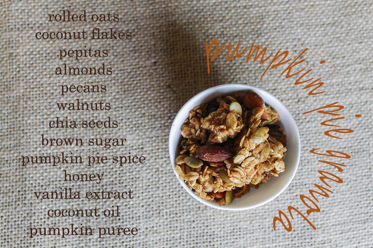 pumpkin pie granola ingredients | roux studio