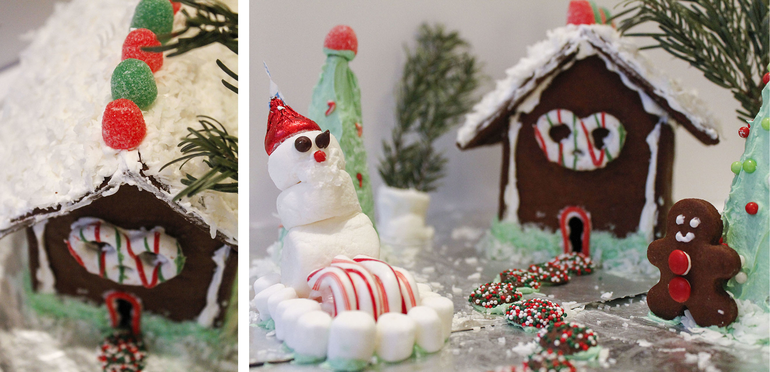Here's my snowy gingerbreadhouse, featuringSanta Snowman on his sleigh and Gingerbread Boy.