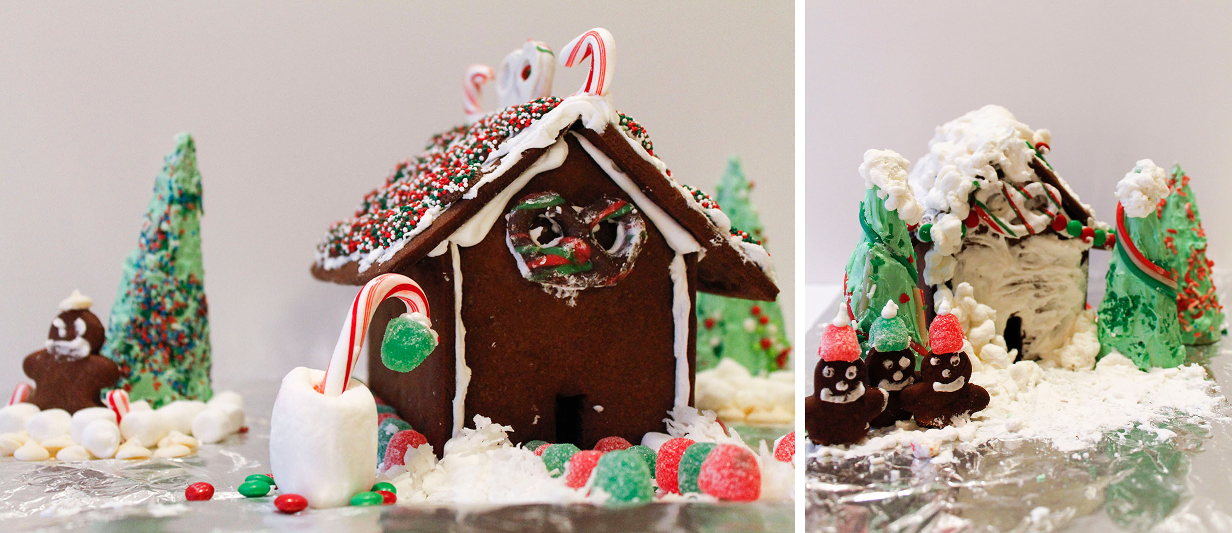 Some other elves made these cute houses: the Gumdrop French Chalet(note the little guy with the beret) and the Snowed-In Cabin!