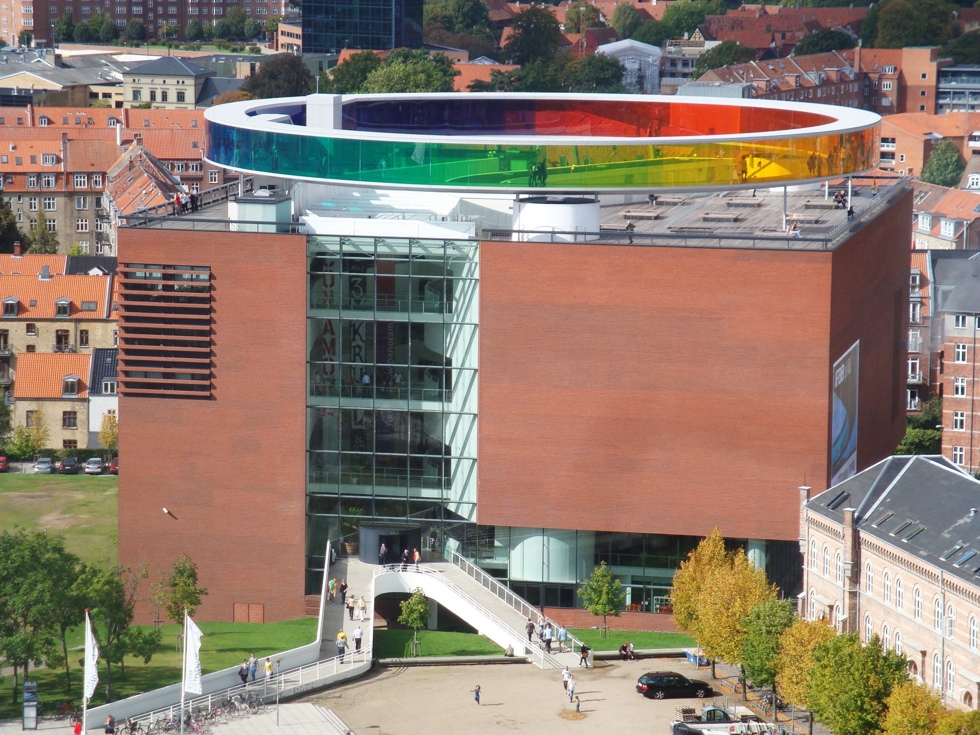 View of the AROS museum from the top of Arne Jacobsens's town hall in Aarhus