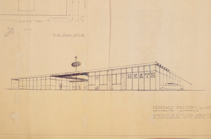 Original drawings by Marquis and Stoller for the design of a new ceramics factory in 1959.