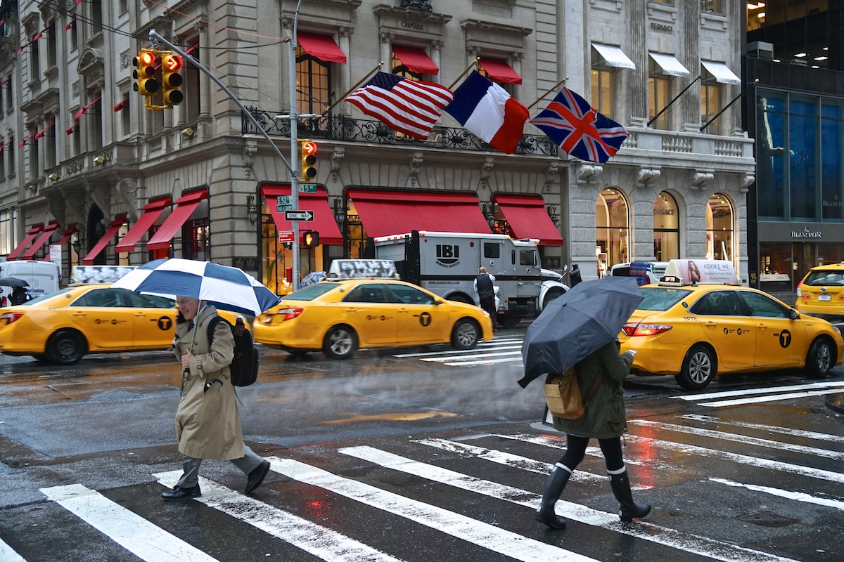 Wind and Rain Whipping Down 5th Avenue