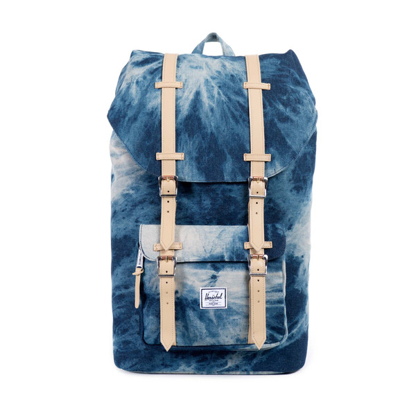 """Herschel: Little America Backpack   This pack says, """"Check out my cute acid-wash denim! White leather straps! Squeee!"""" It wants to go to the classroom, the streets, hot picnic dates and the art gallery. It wants you to have a crush on it.  It is fully lined with coated cotton-poly fabric, has a laptop sleeve pocket, and the leather straps have magnetic metal pin-clip closures.  Made in China  $159.99   herschelsupply.com"""