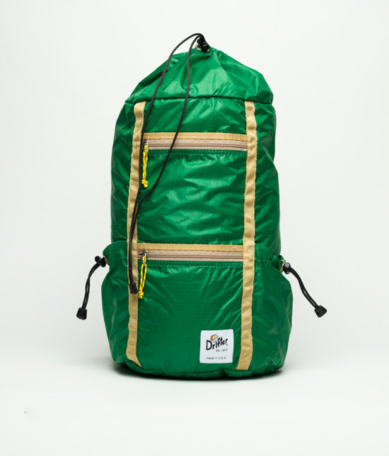 Drifter // Sky Pack                                        This adventure buddy wants to fly with you. Made from 1.9-ounce parachute material, it's durable and light as a feather.  $132 //  drifterbag.com  //Made in Ohio