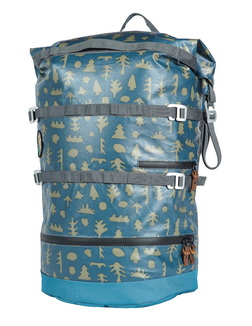 """Poler // High & Dry Pack   We love this """"Mushy Trees"""" pattern bag. It's got a zipped-in dry bag within the splash-proof outer bag—perfect for keeping your wetsuit separate from your drysuit. Easy access to the bottom (hee hee). Perfect for your wallet, keys, phone, or vegan beef jerky.  $149.95 //  polerstuff.com  //Made in China"""