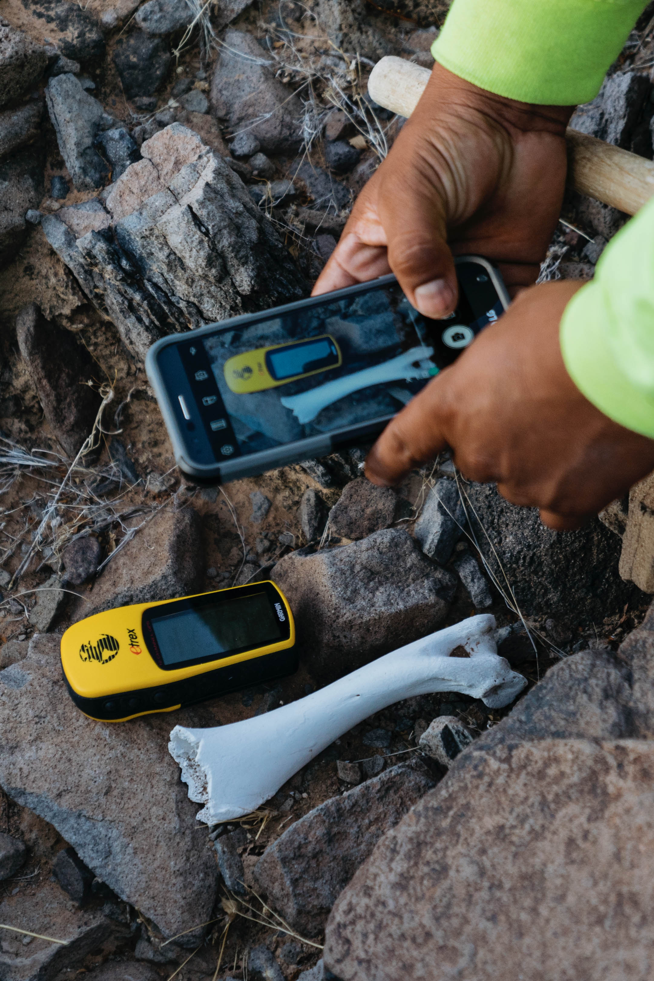 An Aguilas Del Desierto volunteer photographs GPS coordinates of an unidentified bone located in the Sonoran Desert. Because human remains can be the scene of a crime, volunteers photograph and document the locations of any remains and report the information to Border Patrol.