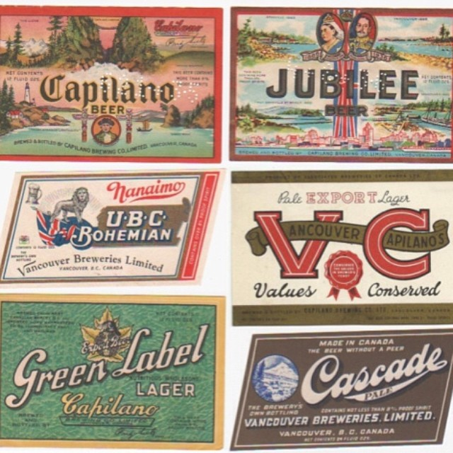 Vancouver Breweries & Capilano Breweries Labels, 1930s