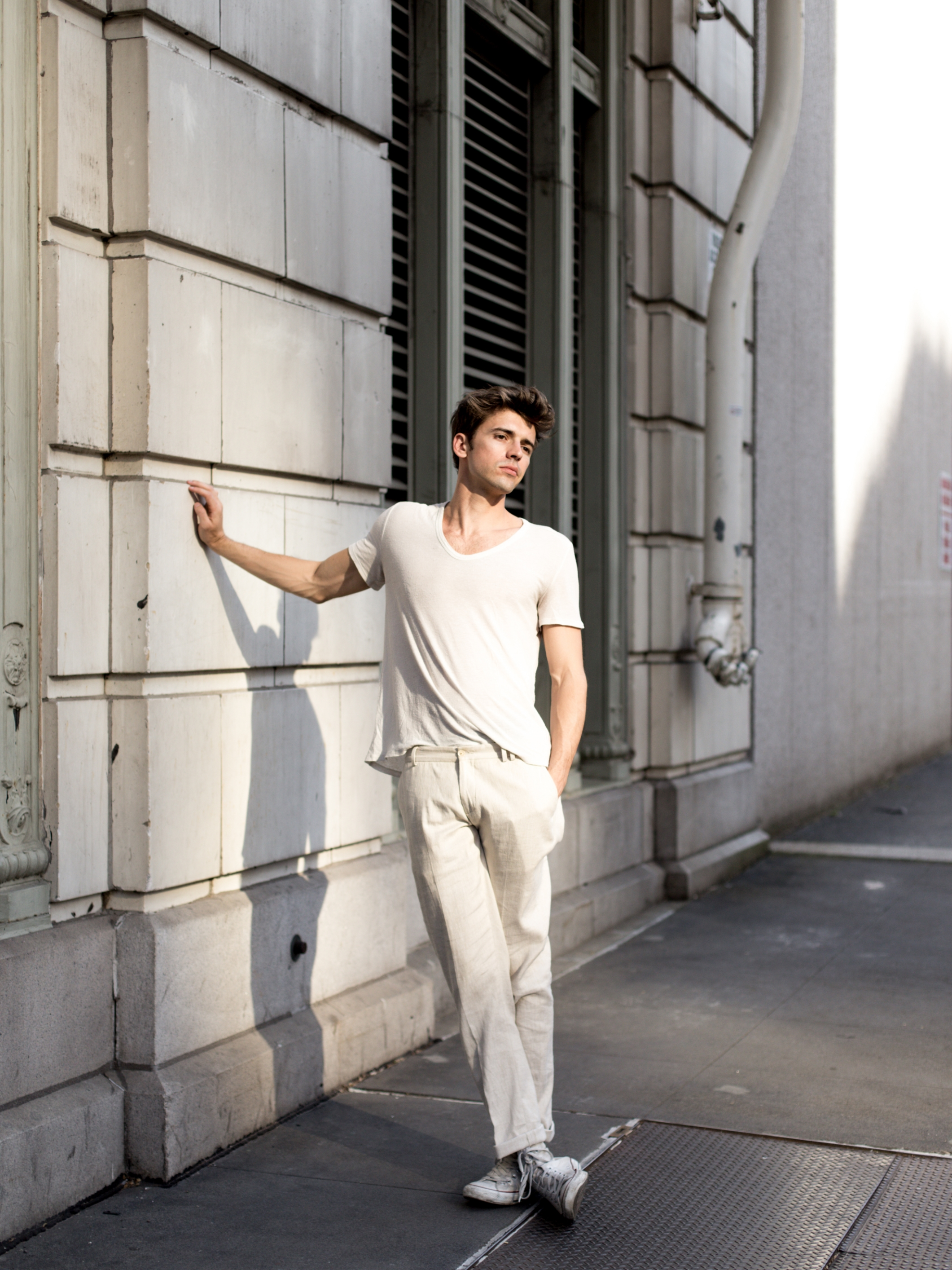 T   Shirt -   Alexander Wang,   Linen Trousers -   Zara,   Shoes -   Vintage   Converse ,  Socks -   Nike