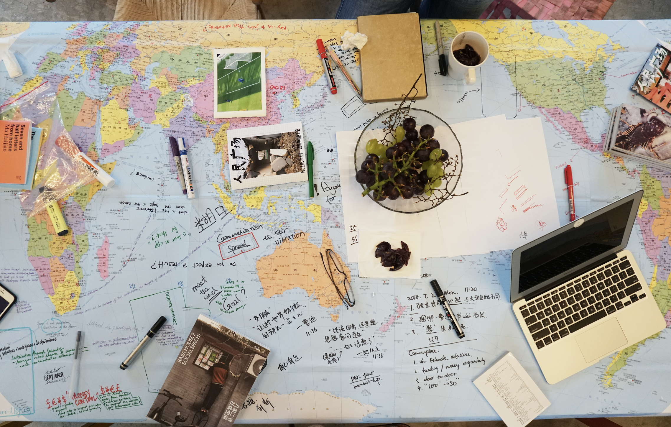 Workshopping transnational distribution routes and strategies.
