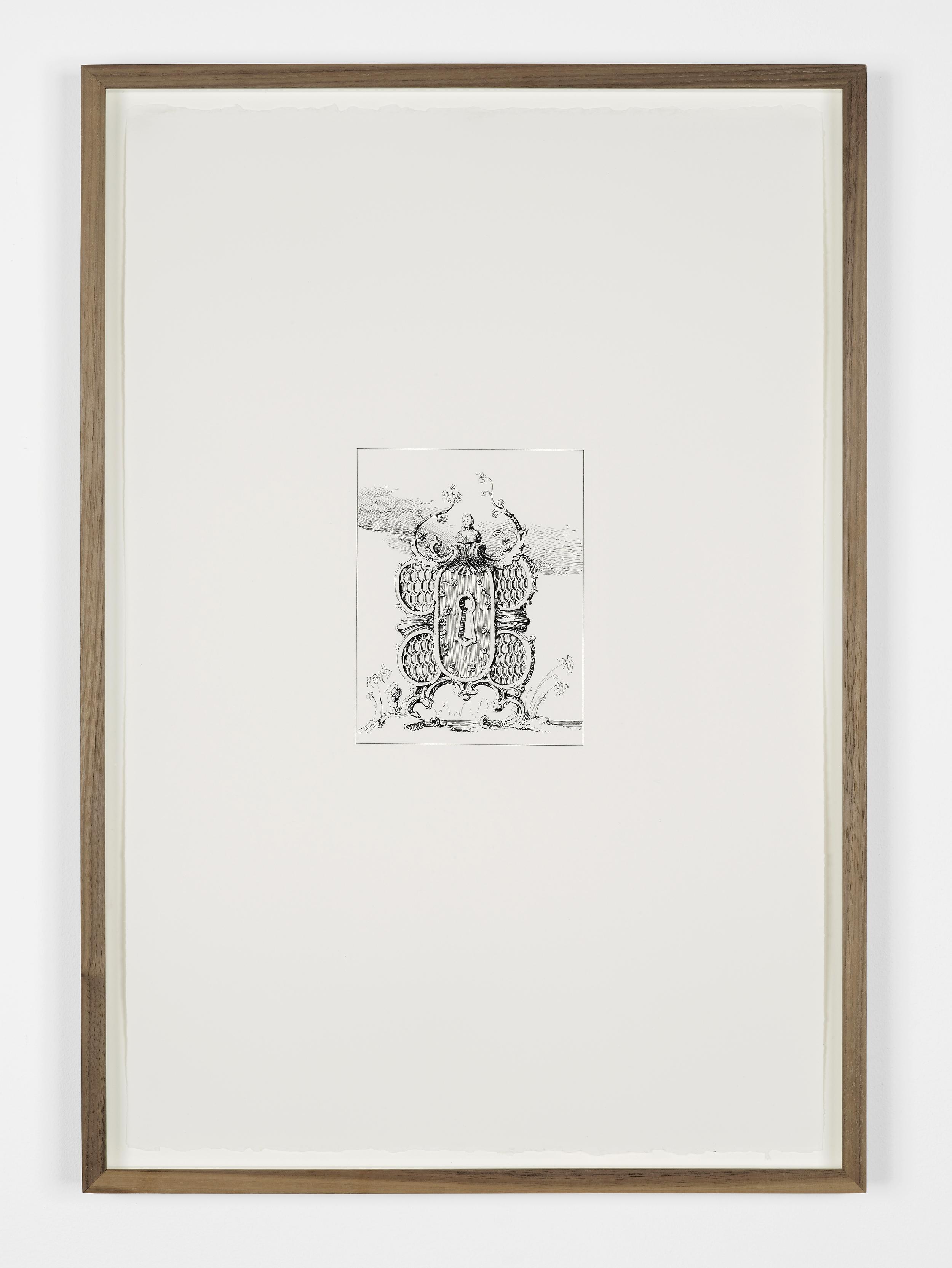 Gilded Keyholes  2013  Ink on paper  61.7 x 47 cm / 24.2 x 18.5 in framed