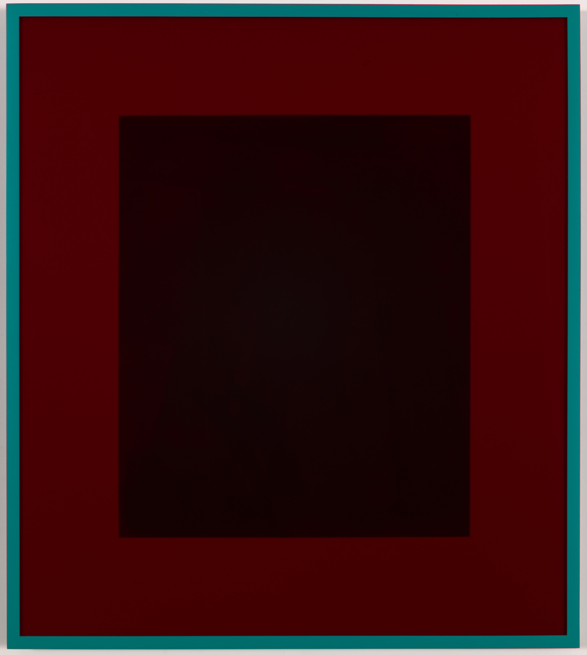 Reverse Telescope (Turquoise) 2013 Acrylic on paper, coloured mat board, coloured perspex, artist's frame  64 x 57.1 cm / 25.2 x 22.5 in