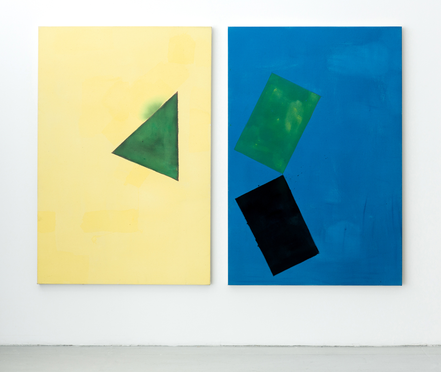 NON-IDEAL SPACE  2013  Acrylic and pencil on canvas  2 parts, each: 152.5 x 101.5 cm / 60 x 40 in