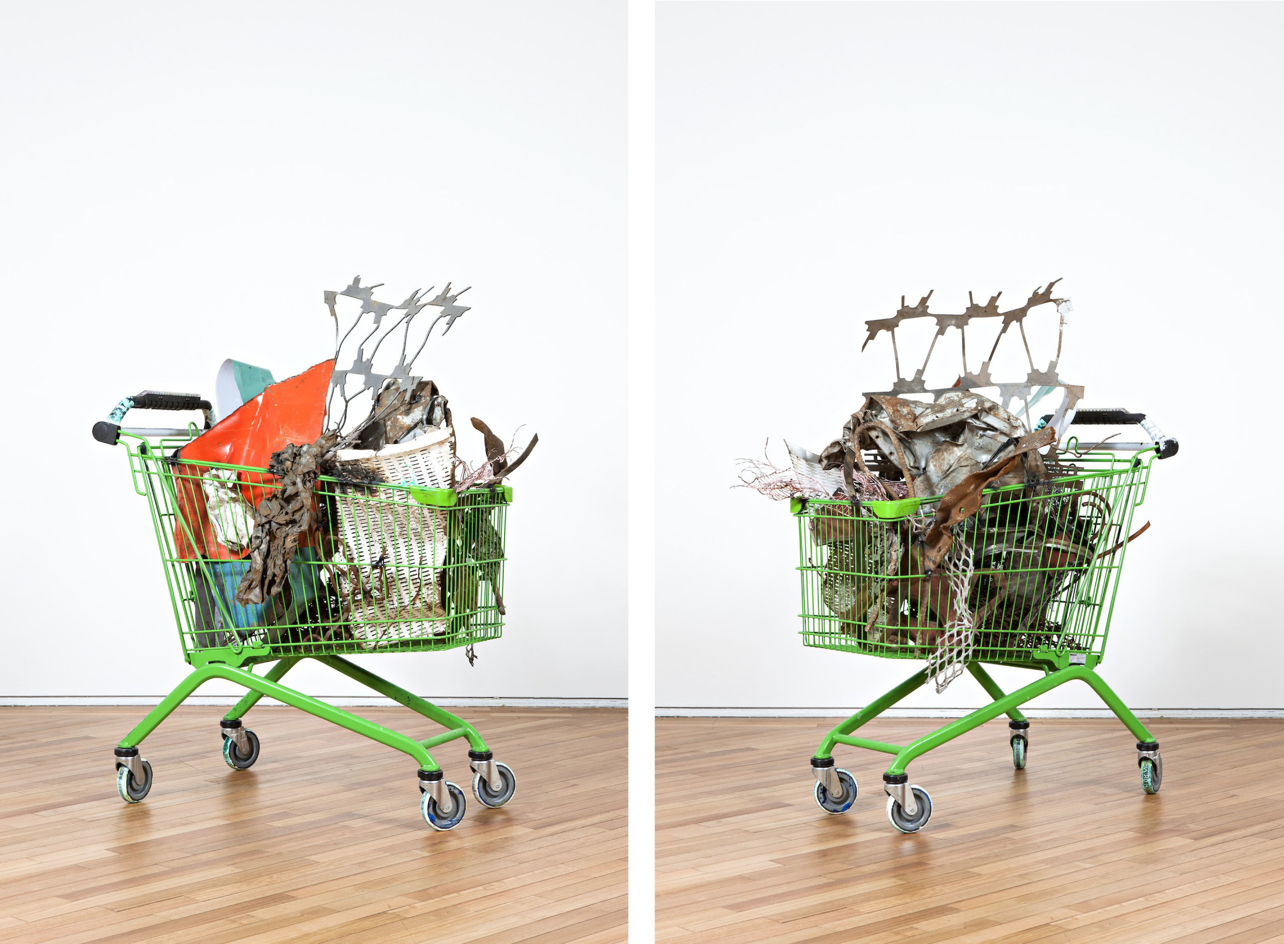 Wagon (Squealing Absinth)  2013  Shopping trolley with welded found steel objects  Dimensions variable