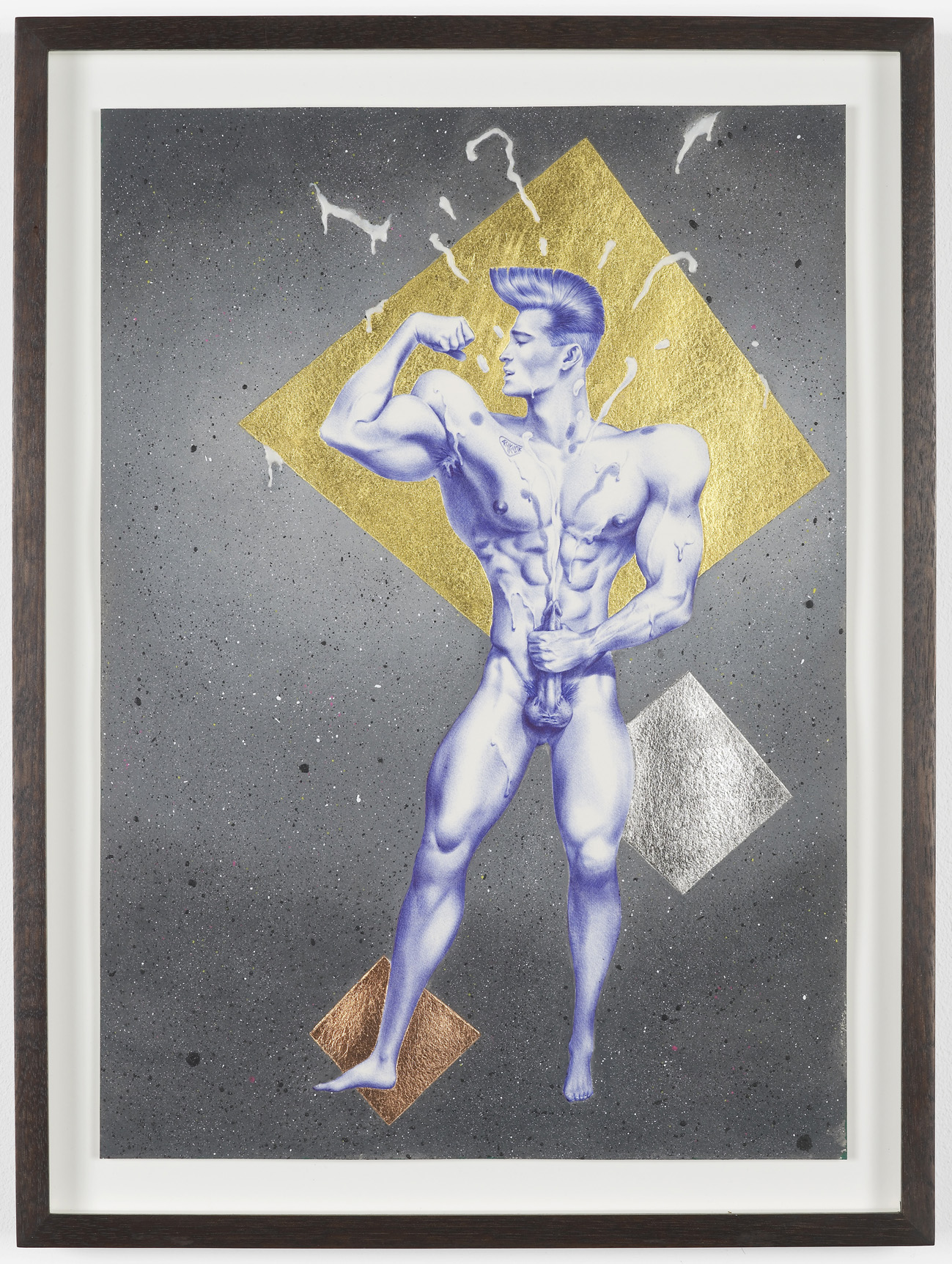 Sticky Subject (1980s) 2013 Ink, acrylic, gold, leaf, copper leaf, palladium and glue on paper: 49 x 36.5 cm / 19.2 x 14.3 in framed