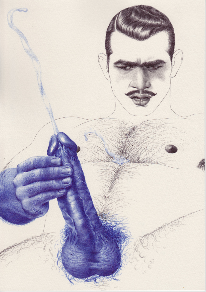 Cum to Barber 1930s (Bombay)  2013  Ink on paper  29.7 x 21 cm / 11.6 x 8.2 in